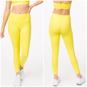 ZYIA Neon Yellow Metallic Leggings, Size 12